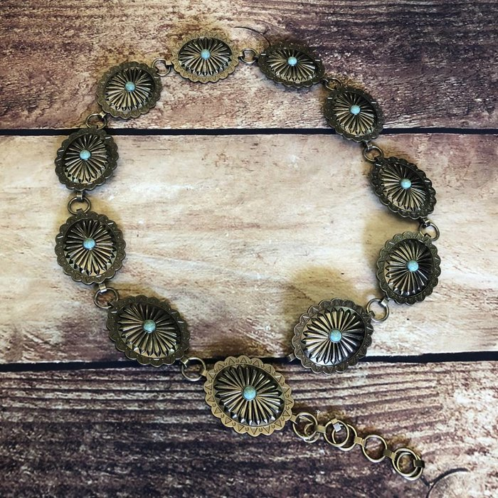 Metal Link Oval Concho Belt with Turquoise Stone