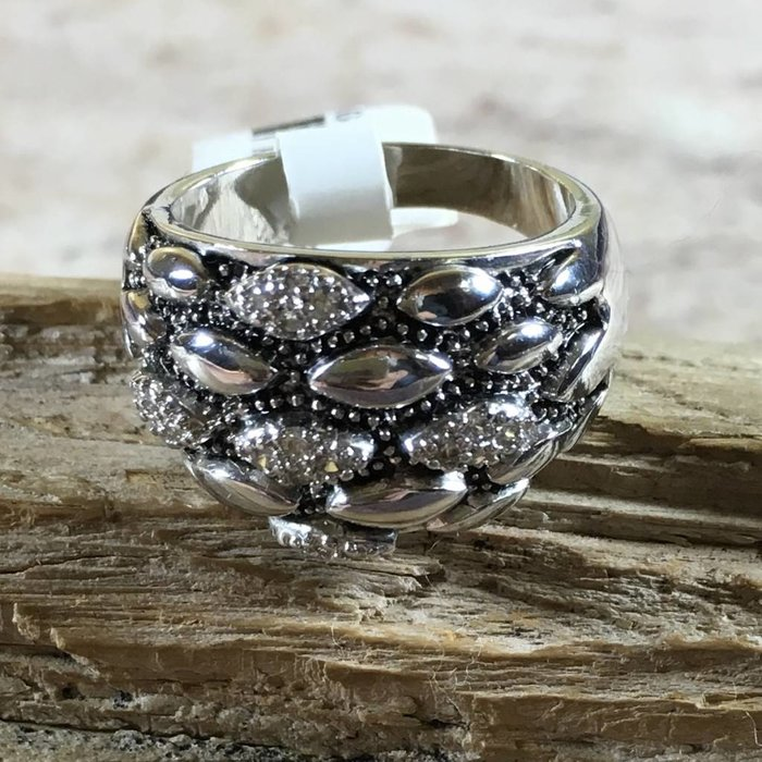 Wide Rhinestone Silver Plated Ring
