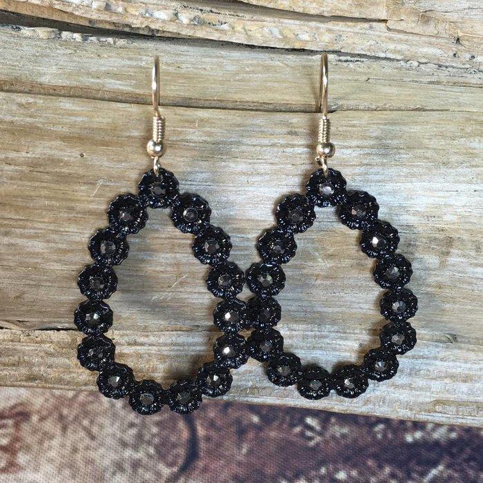 Black Mini Teardrop Flower Earrings