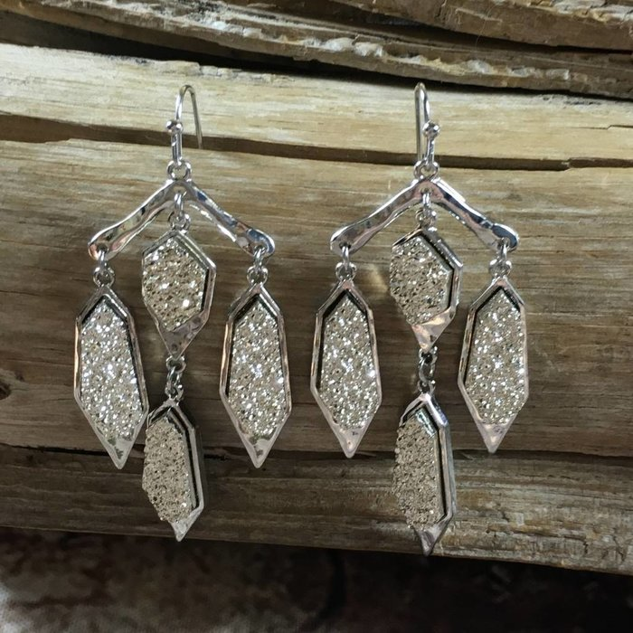 Gold Druzy on Silver Chandelier Earring