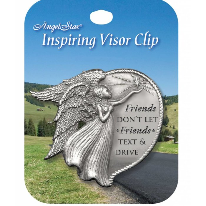 AngelStar Round Friends Don't Let Friends Text & Drive Visor Clip