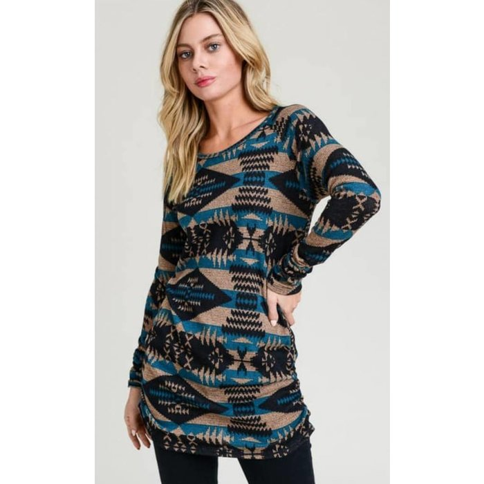 TEAL Long Sleeve Aztec Print Tunic with Side Ruching