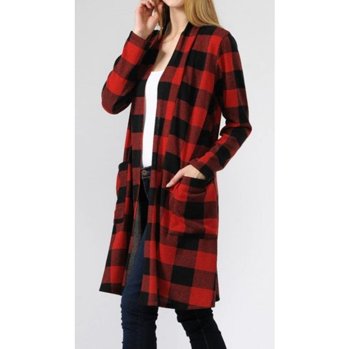 Red Buffalo Plaid Cardigan w/Pockets