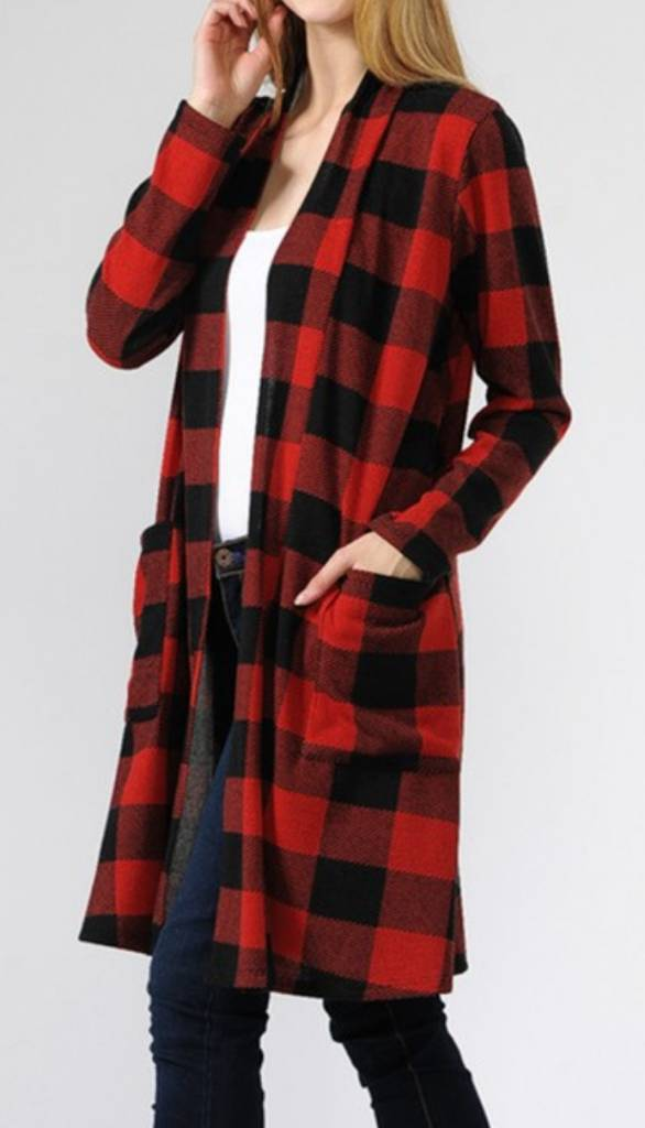red buffalo plaid cardigan w  pockets