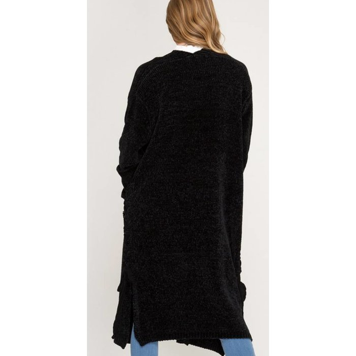 Black Chenille Lace Up Side Long Sweater