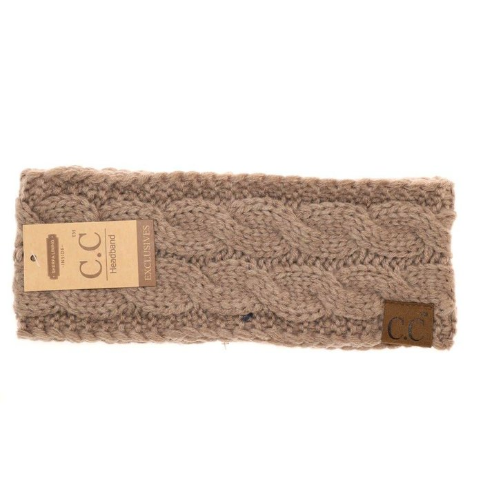 C.C. Taupe Fuzzy Lined Knitted Head-Wrap