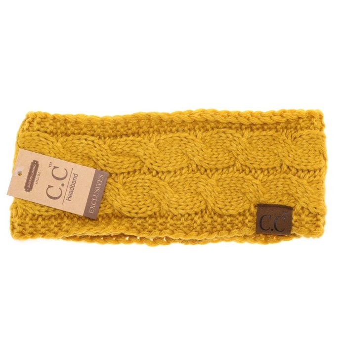 C.C. Mustard Fuzzy Lined Knitted Head-Wrap
