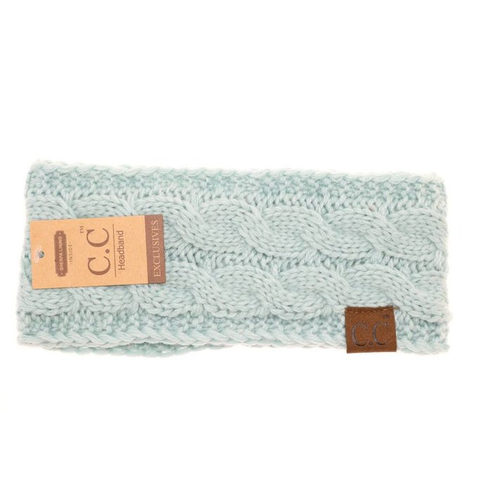 C.C. Mint Fuzzy Lined Knitted Head-Wrap