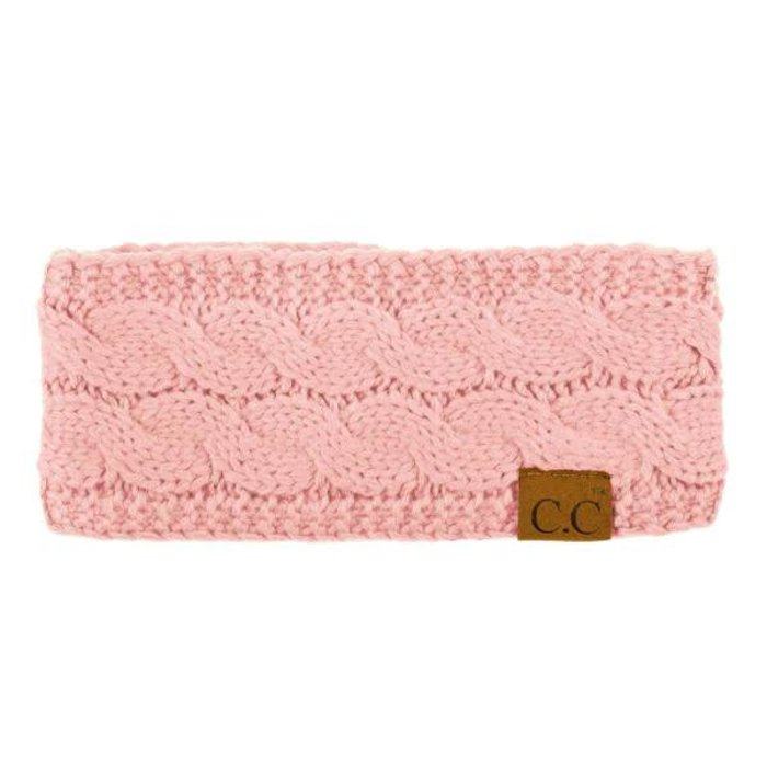 C.C. Pink Fuzzy Lined Knitted Head-Wrap