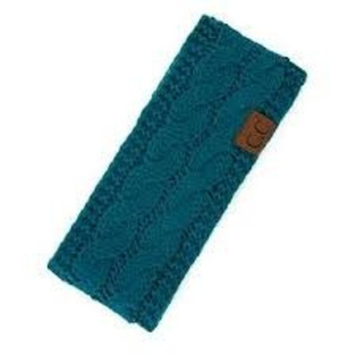 C.C. Teal Fuzzy Lined Knitted Head-Wrap