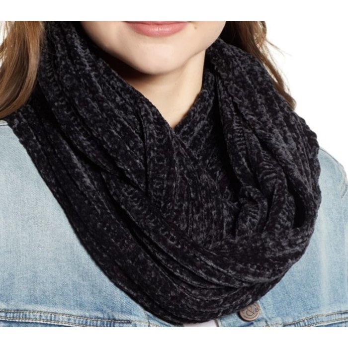 Navy Chenille Knit Loop Infinity Scarf