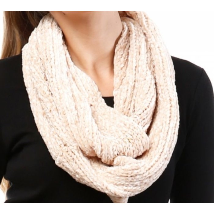 Beige Chenille Knit Loop Infinity Scarf