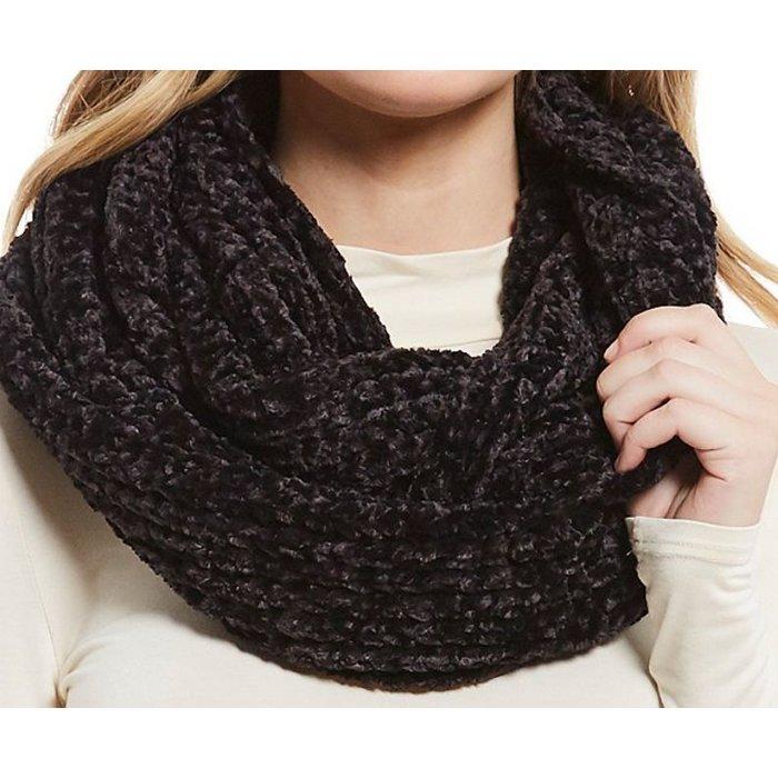 Black Chenille Knit Loop Infinity Scarf