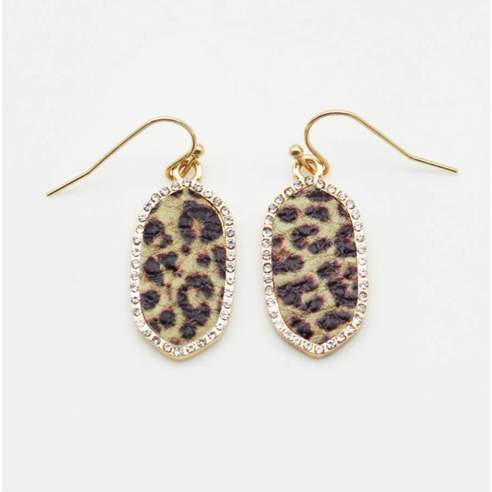 Mini Rhinestone Oval Leopard Earrings