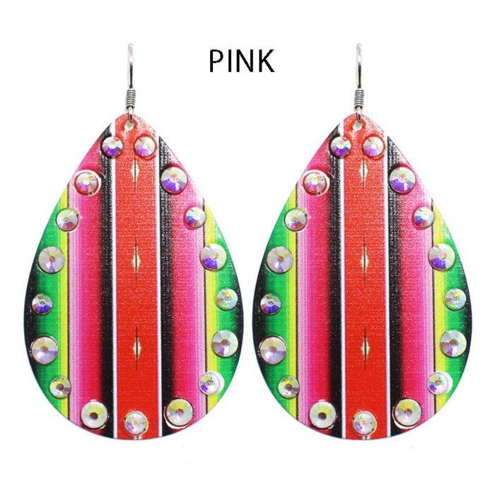Pink Serape Rhinestone Teardrop Earrings