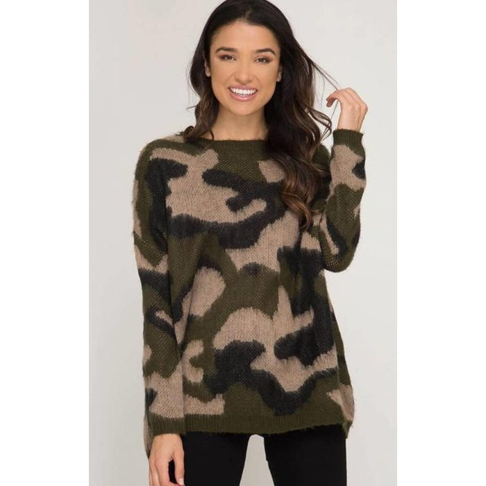 ONE SIZE - Camo Pullover Sweater