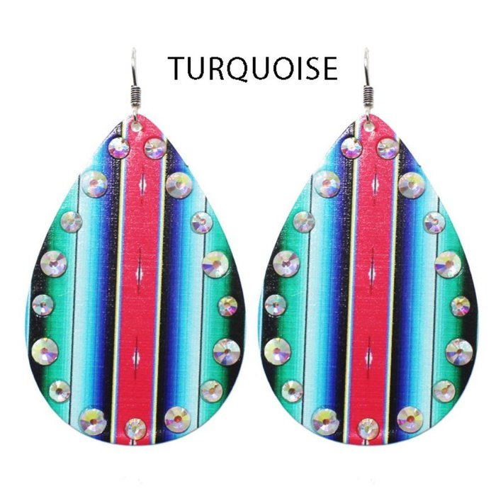 Turquoise Serape Rhinestone Teardrop Earrings