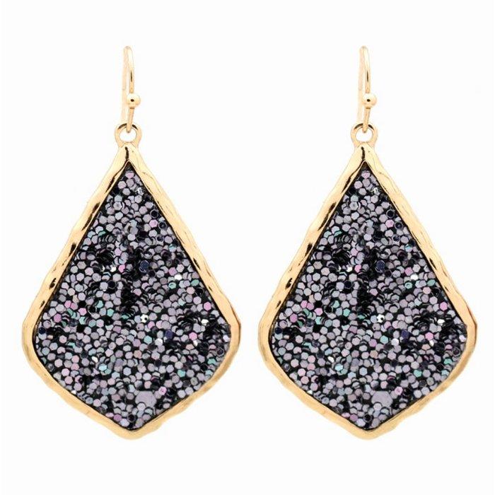 Hematite/Gold Glitter Closed Teardrop Earrings