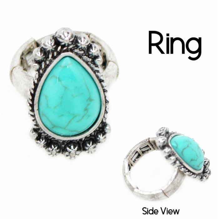 Turquoise Teardrop Stretch Ring