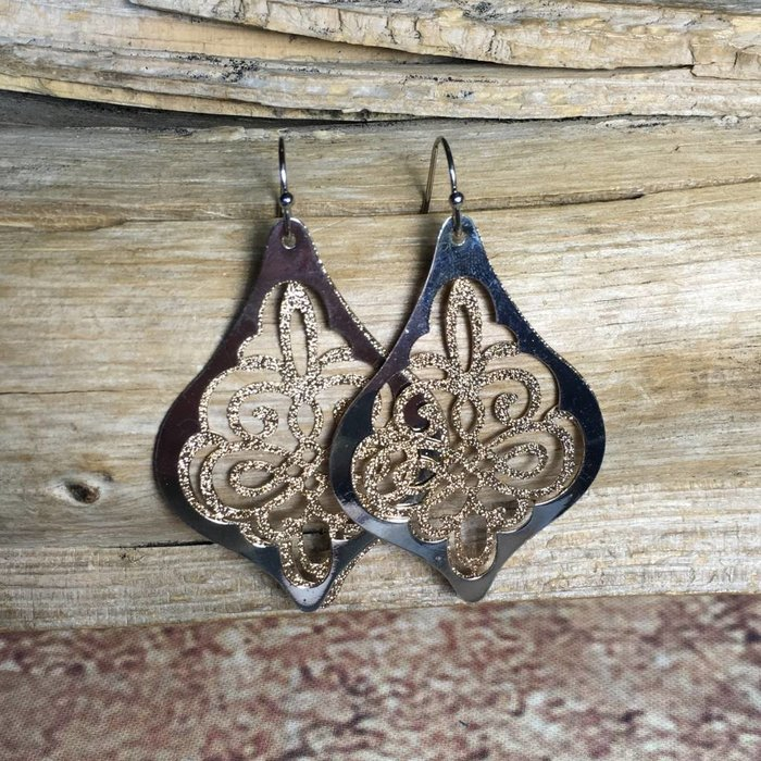 Gold Ornate Double Layered Earrings