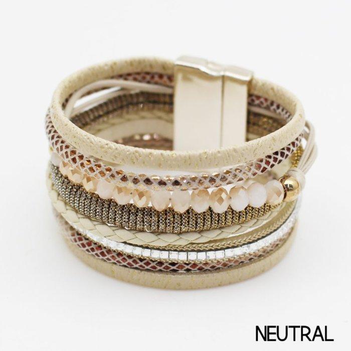 Neutral Crystal & Rhinestone 8 Layered Magnetic Bracelet