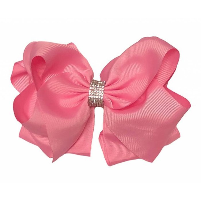 Pink Hair Bow with Rhinestones