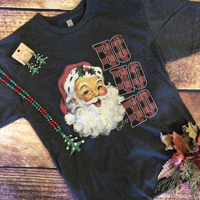 Santa Ho Ho Ho Plaid T-Shirt