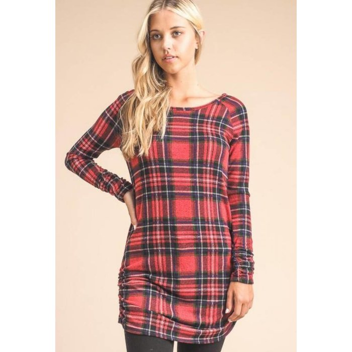 Plaid Sweater Tunic Top w/side Rouching