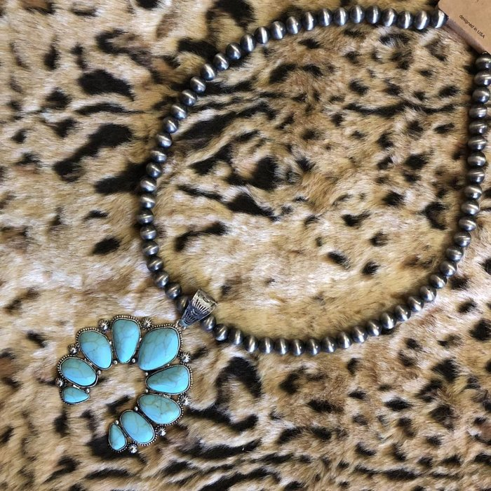 Turquoise Squash Navajo Pearl Necklace