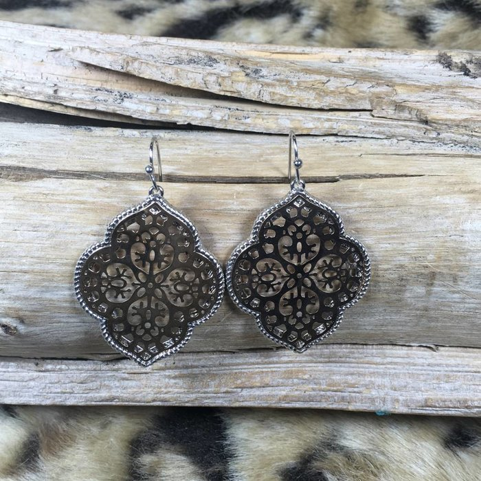 Gold/Silver Damask Filgree Earrings