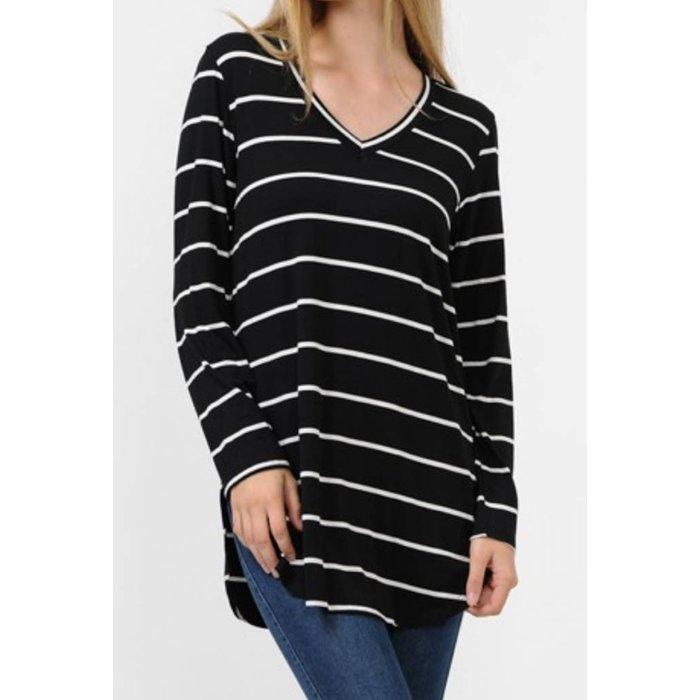 PLUS Black Striped V-Neck Long Sleeve Top