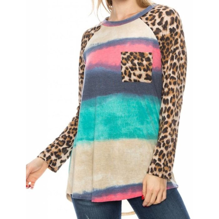 Water Color Striped Leopard Pocket Tunic