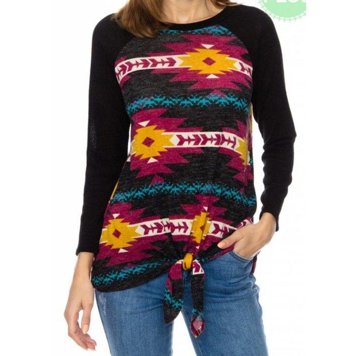 PLUS Navajo Print Raglan Knit Top With Front-tie