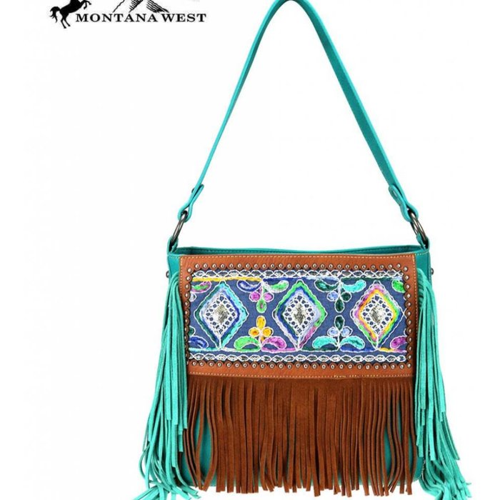 Turquoise Gypsy Embroidered Fringe Tote Bag