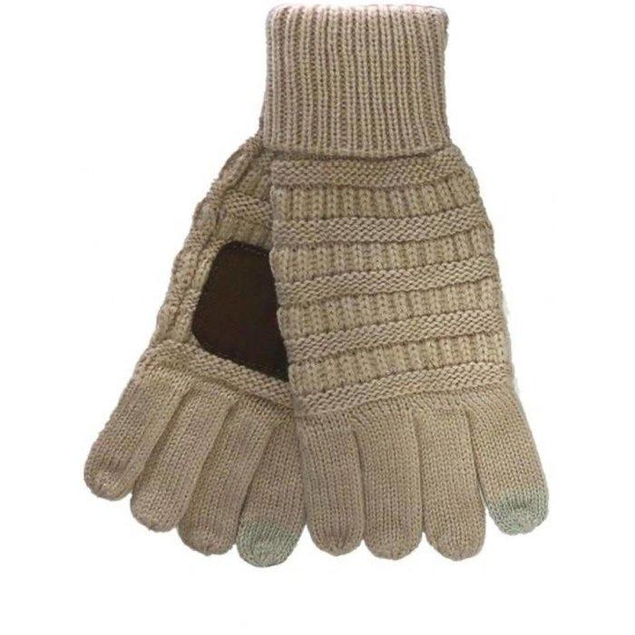 C.C. Taupe Smart Tip Knit Gloves