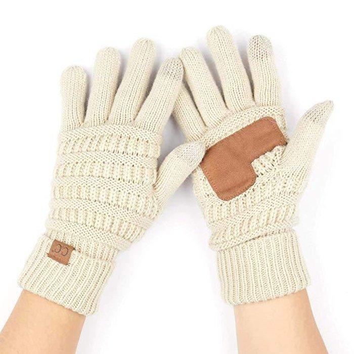 C.C. Beige Smart Tip Knit Gloves