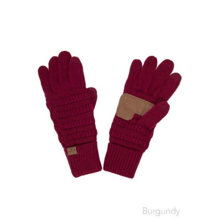 C.C. Burgundy Smart Tip Knit Gloves