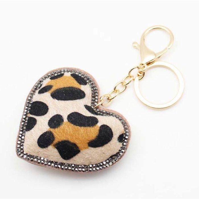 Leopard Heart Hematite Rhinestone Key Chain