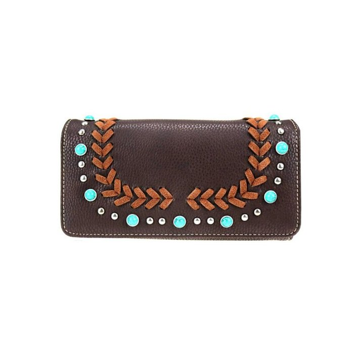 Coffee Whipstitch Turquoise Studded Wallet