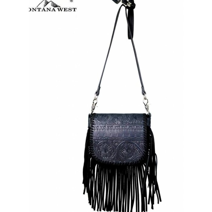 Black Vintage Floral Tooled Fringe Crossbody Purse