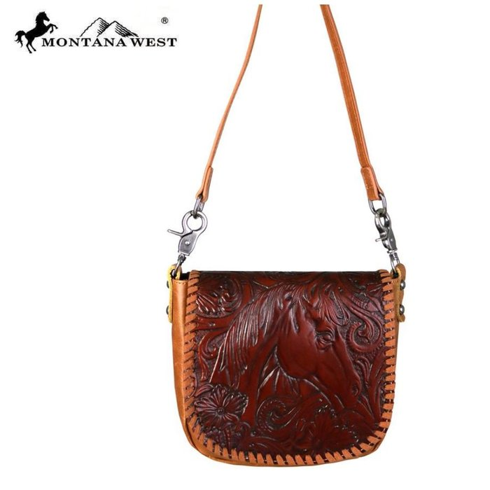 Brown Horse Floral Tooled Crossbody Purse