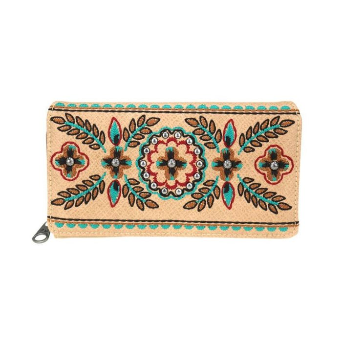 Tan Floral Embroidered Studded Accent Wallet