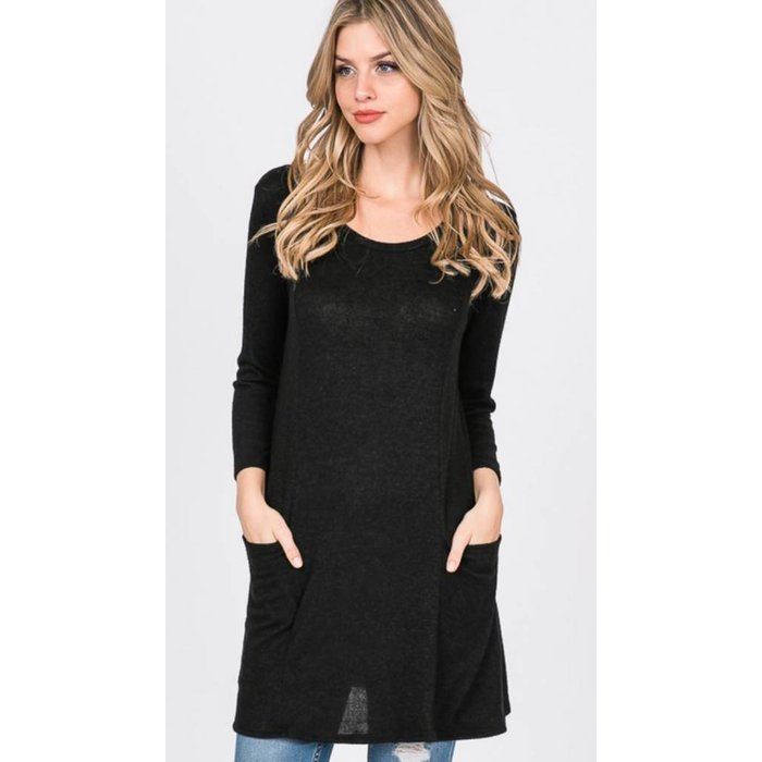 Black Solid Woven Tunic with Pockets