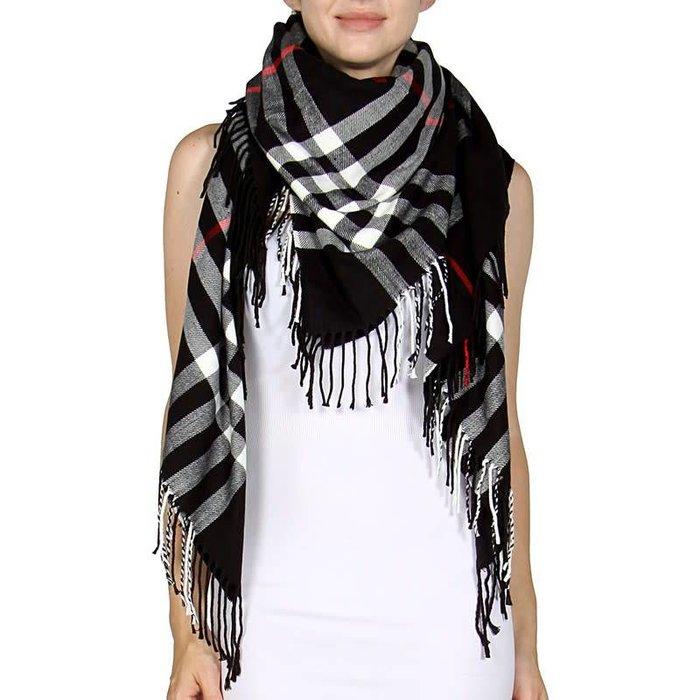 Black Checkered Square Blanket Scarf