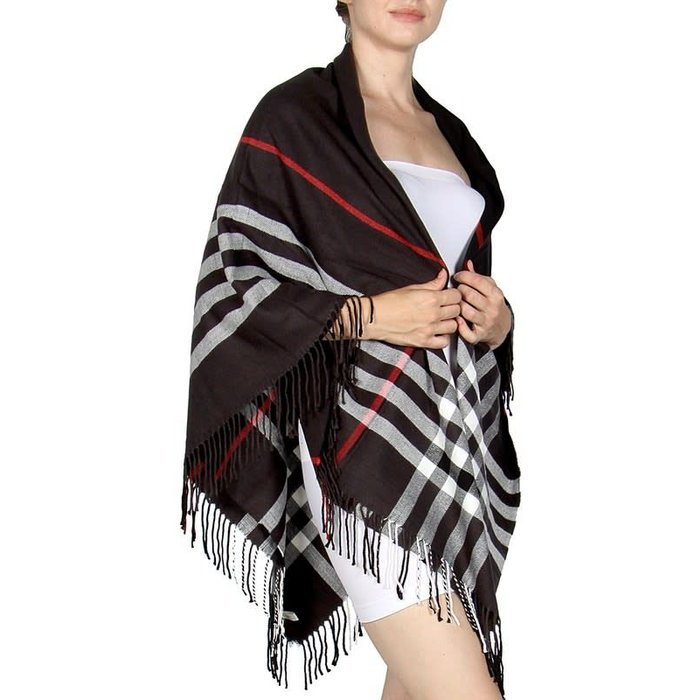 Black Checkered Square Blanket Scarf
