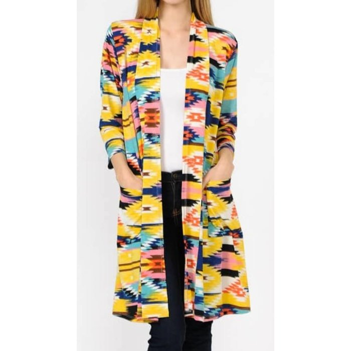 Bright Aztec Printed Long Sleeve Cardigan