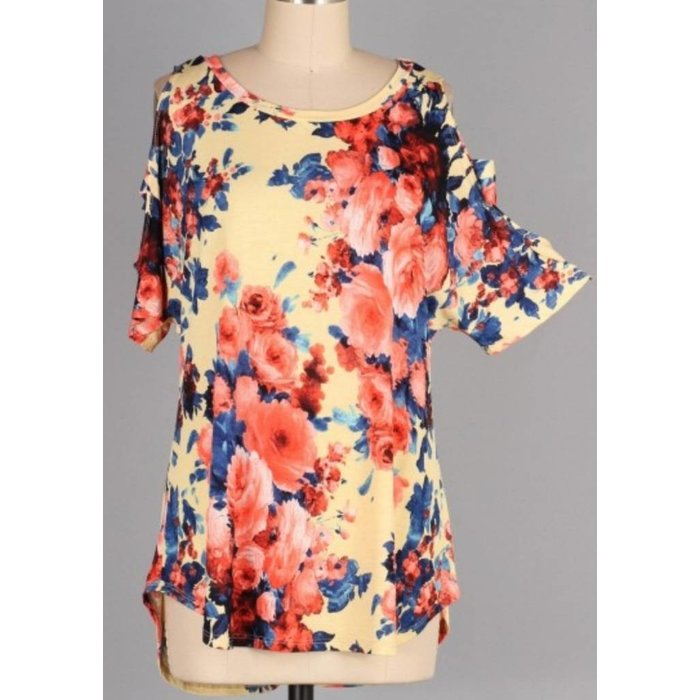 PLUS Slotted Sleeve Floral Print Tunic Top