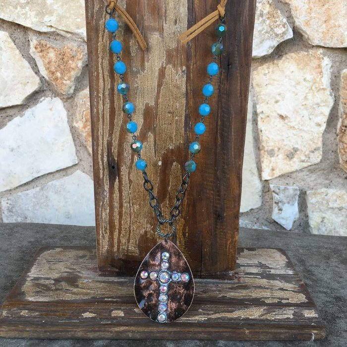 Patina AB Cross Leather Crystal Necklace Set