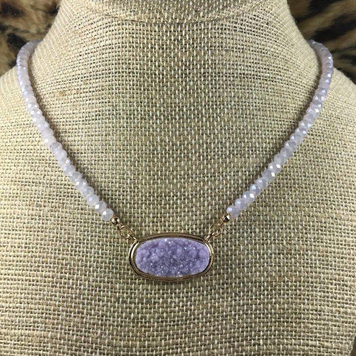 Lavender/Gold Oval Druzy Crystal Beaded Choker