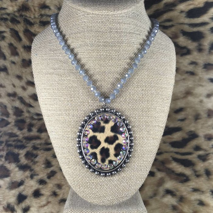 Silver Round Leopard AB Crystal Beaded Necklace